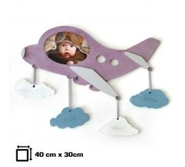 Baba képkeret: pilóta baba, gravírozott születési adatokkal